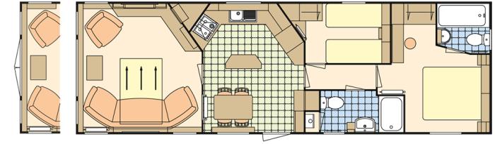 Atlas Status 38x12.6  Salon Fermé - 2 Chambres