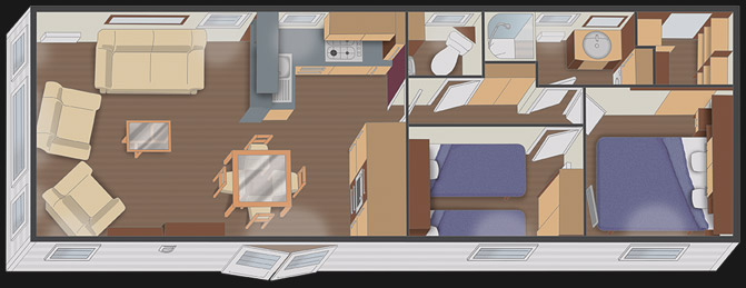 mobilhome nautil 11.10 - 2 chambres + dressing