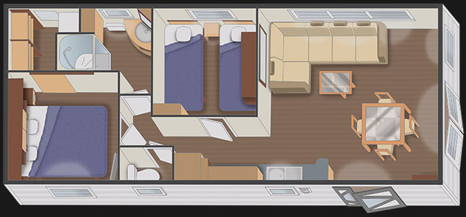nautilhome 9.40 Panoramique - 2 chambres + dressing - implantation