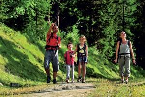 une famille en randonnée à la montagne