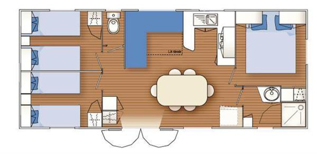 Louisiane flores 3 3 chambres 36m mhp loisirs for Mobil home 3 chambres