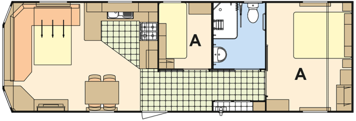 Atlas Everglade 36x12 PMR (A) - 2 Chambres
