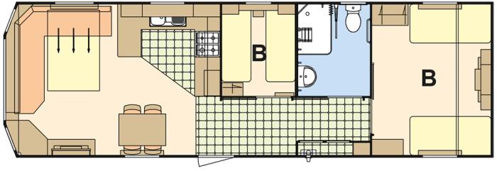 Atlas Everglade 36x12 PMR (B) - 2 Chambres