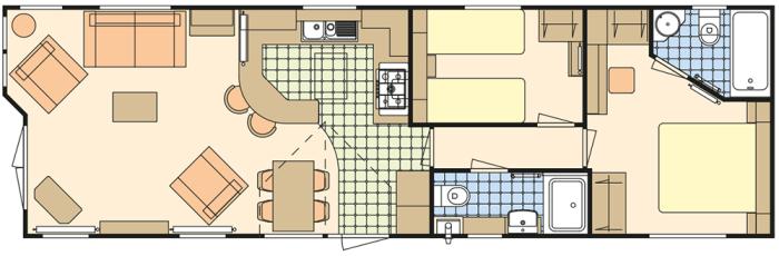 Atlas Jasmine 43x13 - Salon Ouvert - 2 Chambres