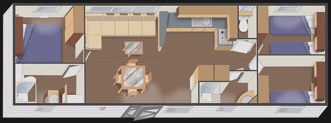 mobilhome nautil 12.00 - 3 chambres + 2 salles de bain