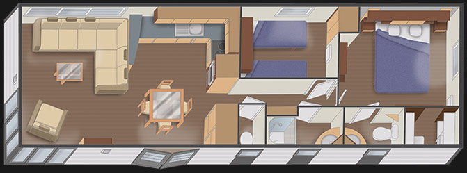 mobilhome nautil 12.7 - 2 chambres + dressing